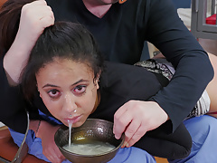 Nasty little slave girl gets ass beaten while slurping cum