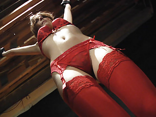 Red Lingerie BDSM Slave Teen gets punished and spanking
