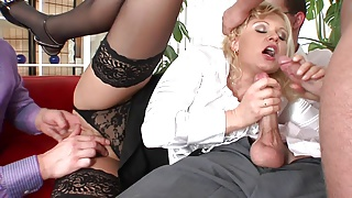 Hot blondie cries as she could not tolerate the gangbang any longer