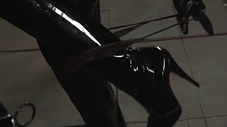 Latex loving mistress pleasures masked man
