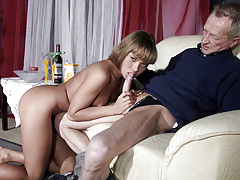 Very Old Man Fucks Very Young Girl And Cums On Her Tongue