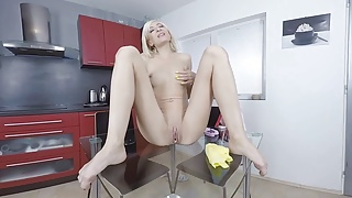 Virtualpee - Pissing housewife cleans her table with pee