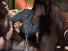 Kinky mistress has foursome fuck with three sex slaves