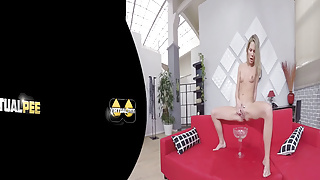 Claudia Macc catches her golden piss in vr porn movie