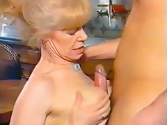 Blonde Grandma Gets Pounded On The Table