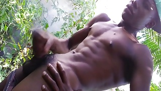 Black hung amateur twunk jerksoff outdoors