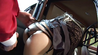 Two dudes drill cab driver and her blonde passenger