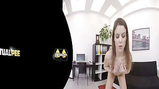 Virtualpee - Dildo loving brunette splashes herself with
