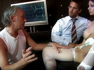 Naughty nurse is the hospital whore fucking two doctors at the same time