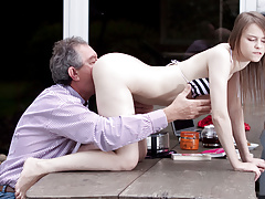 Perfect Natural Teen Fucked by Grandpa Outside And Swallows