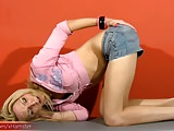Blonde teen femboy performs striptease and hardcore jerking