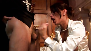 Randy MILF with glasses seduces priest to fuck her hardcore