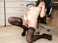 Hot Margo touching herself in black stockings