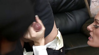 Lucky fucker gets his dick by two gorgeous sluts